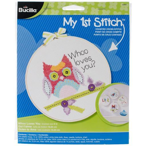 "My 1st Stitch Whoo Loves You Mini Counted Cross Stitch Kit-6"" Round 14 Count 6NK5RKSCTXRVHHNH"