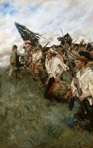 Pyle: Nation Makers, 1906. /N'The Nation Makers.' Depicts The Battle Of Brandywine Of 1777 During The Revolutionary War. Oil On Canvas By Howard.