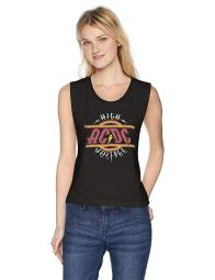 ACDC Women's High Voltage Rock N Roll Logo Raw Graphic Muscle, Black, Size Small