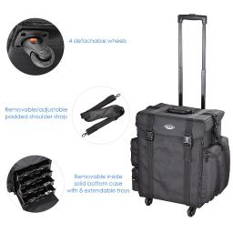 """AW® Black Soft-sided Rolling Makeup Case 17x14x22"""" Nylon Cosmetic Train Bag Travel Show Party"""