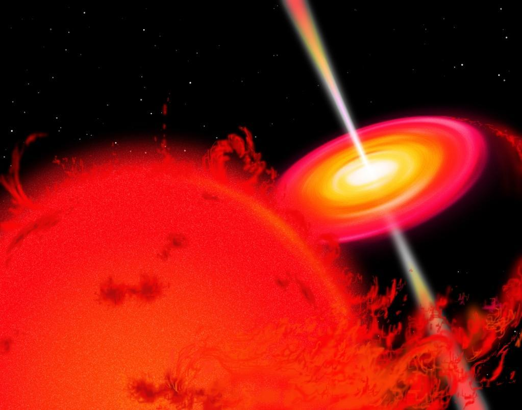 A red giant star orbiting a black hole, which is drawing in matter from the star Poster Print