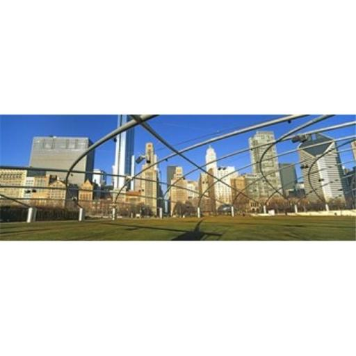 Panoramic Images PPI143701L Jay Pritzker Pavilion with city skyline in the background Millennium Park Chicago Cook County Illinois USA Poster Pri
