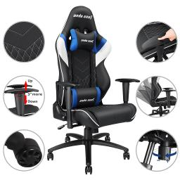 Anda Seat Racing Gaming Chair PVC Leather Recliner Adjustable Swivel Rocker High-back w/ Headrest & Lumbar Cushion