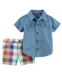 Carter's Baby Boys' 2-Piece Chambray Button-Front & Plaid Short Set, 3 Months