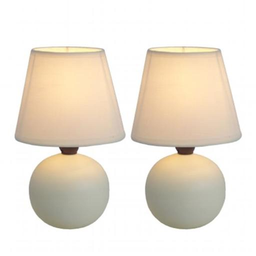 All The Rages LT2008-OFF-2PK Simple Designs Mini Ceramic Globe Table Lamp 2 Pack Set, Off White