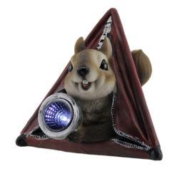 Critter Camp Squirrel In Tent LED Solar Light Statue