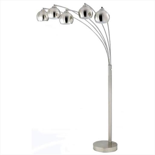 Cal Lighting BO-2030-5L-BS 60 W X 5 Arc Floor Lamp With Metal Shade, Brushed Steel Finish