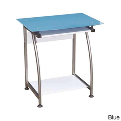 Hodedah Import HIS818 BLUE Glass Top Laptop Desk with Pull-out Keyboard - Blue