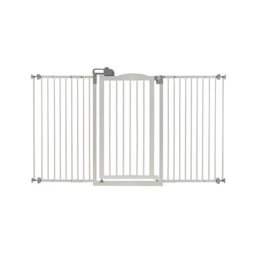 RICHELL 94935 White RICHELL TALL AND WIDE ONE-TOUCH PRESSURE MOUNTED PET GATE WHITE 32.1 - 62.8 X 2 X 38.4