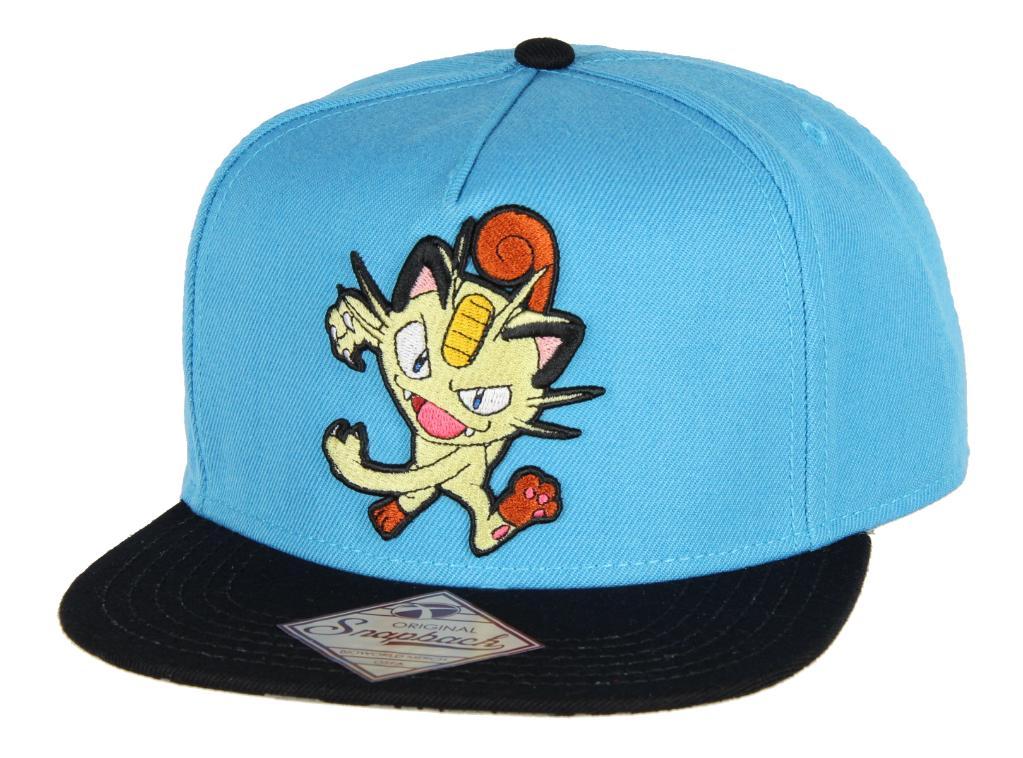 e379b46bed8339 Bioworld BIOWORLD Pokemon Meowth Embroidered Turquoise Snapback Cap ...