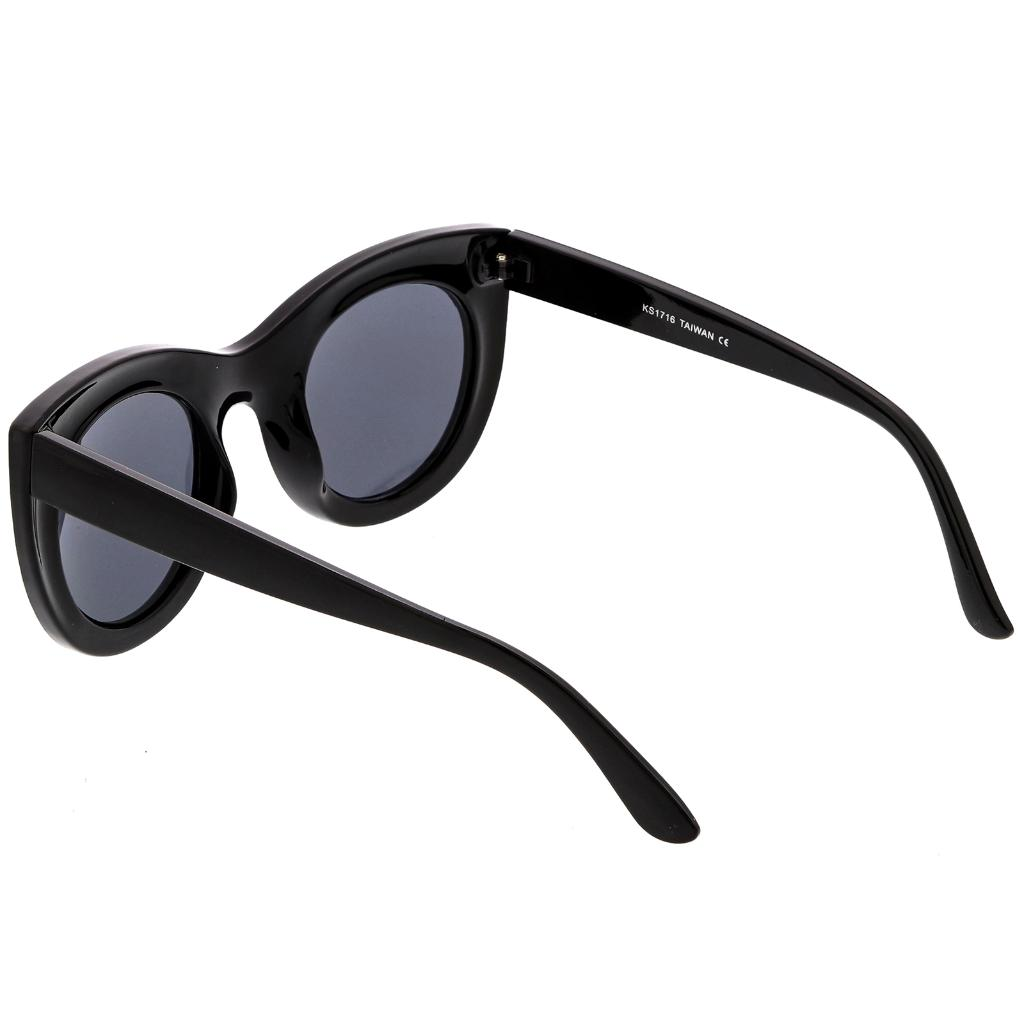 c4b47a3bbd0 sunglassLA Women s Bold Chunky Cat Eye Sunglasses With Neutral Color Round  Lens 49mm