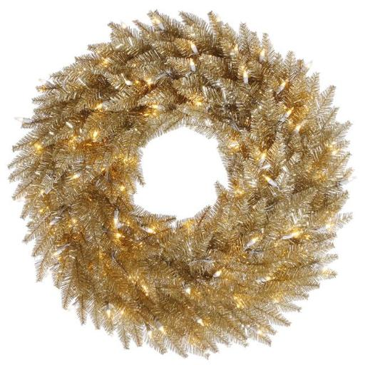Vickerman K166437LED 36 in. Champagne Wreath with 100 Warm White Dura LED Light