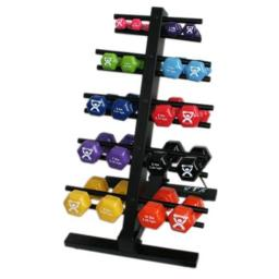 Cando Vinyl Coated Dumbbell - 20-piece Set With Floor Rack