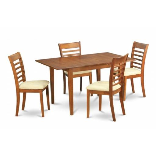 East West Furniture MILA5-SBR-C 5 Piece Small Kitchen Table Set- Tables and 4 Dining Room Chairs