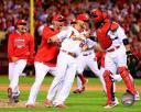 The St. Louis Cardinals celebrate winning Game 4 of the 2014 National League Division Series Photo Print