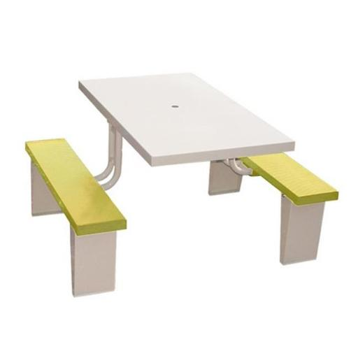 Prairie View PIC2848-Y 4 Seats Aluminum Rectangular Picnic Table, Yellow - 30 x 28.5 x 48 in.