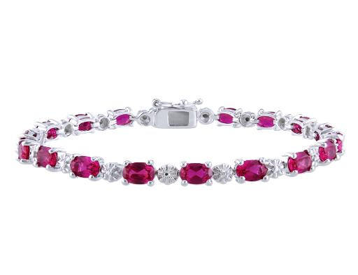 Created Ruby Bracelet 13.50 Carat (ctw) with Diamonds in Sterling Silver