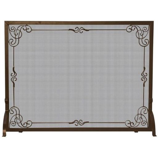 Uniflame S-1615 Bronze Single-Panel Fireplace Screen with Decorative Scroll