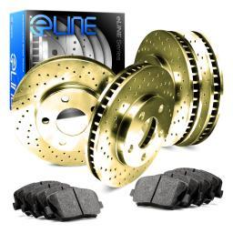 [COMPLETE KIT] Gold Cross-Drilled Brake Rotors & Ceramic Brake Pads CGX.4412202