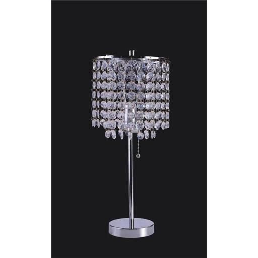 Q-Max 8315SN 19 in. Crystal Inspired Table Lamp with Pull Switch - Silver