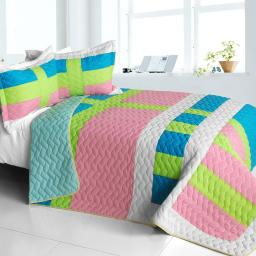 Lollipops - A 3PC Cotton Vermicelli-Quilted Patchwork Geometric Quilt Set-Full/Queen Size