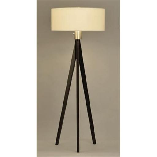 Nova 10858 Tripod Floor Lamp- Dark Wiped Wood & Brushed Nickel With White Linen Shade