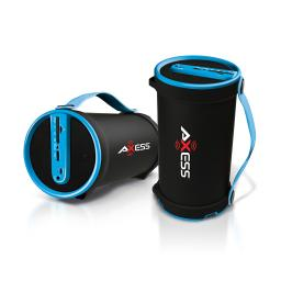 Axess spbt1033bl axess blue portable bluetooth indooroutdoor 2.1 hifi cylinder loud speaker with builtin 4 inch sub