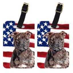Carolines Treasures SC9633BT Pair Of Staffordshire Bull Terrier Staffie With American Flag Usa Luggage Tags