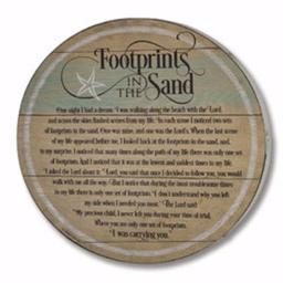 Abbey Press 184491 Barrel Plaque-Footprints in The Sand
