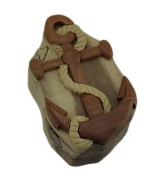 Nautical Rope and Anchor Hand Crafted Wooden Trinket/Puzzle Box