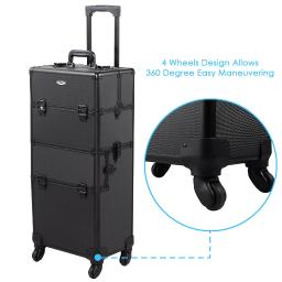 """AW 2in1 4 Wheel Pro Aluminum Rolling Makeup Cosmetic Train Case 38"""" Lockable Wheeled Box"""