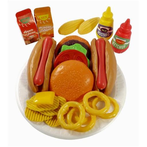 AZImport PS8010 Fast Food Play Set for Kids, Includes Burger, Hot Dog, Potato Chips, Onion Rings, Corn & More Accessories
