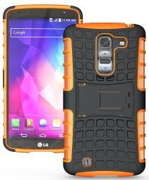 NEON ORANGE GRENADE GRIP SKIN HARD CASE COVER STAND FOR LG OPTIMUS G PRO-2 F350
