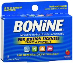 Bonine Motion Sickness Protection, Chewable Tablets, Raspberry - 16 Ea., Pack Of 3