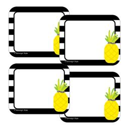 Schoolgirl style tropical pineapple stripe name tags