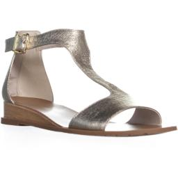 Kenneth Cole 7 Judd T Strapp Flat Sandals, Soft Gold 7 Judd