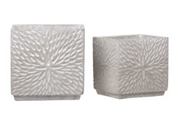 Urban Trends Collection UTC58300 Cement Square Pot Washed Concrete Finish - Set of 2, Gray