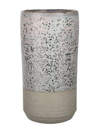 urban Trends Ceramic Round Vase with Irregular Lip and Speckled Design Body with Gray Banded Rough Bottom Small Coated Finish Sage