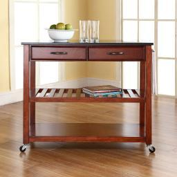 Crosley Solid Black Granite Top Kitchen Cart/Island With Optional Stool Storage in Classic Cherry Finish