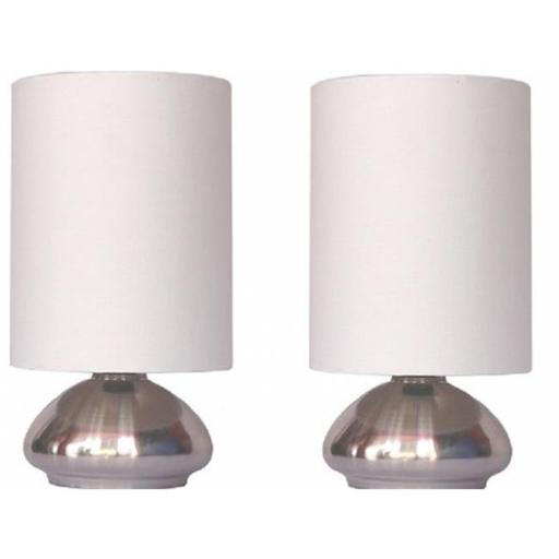 2 Pack Mini Touch Lamp with Shiny Silver Metal base and Ivory Shade