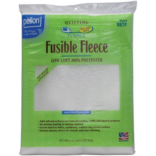 Fusible Fleece Pellon-Fusible Fleece: White. A one-sided fusible fleece that adds a layer of softness, body, and stability to home decorating, craft and apparel sewing. No pinning! No basting! No sewing! Can be fused to fabric, cardboard, or wood. It is completely sewing machine safe. Made of 100% Polyester. This package contains 60x45 inch fusible fleece. Made in USA.