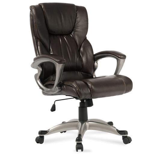 Belleze High-Back Executive Chair Padded Faux Leather Office Chair Tilt Swivel Computer - Mocha