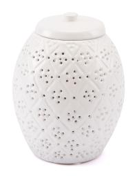 Zuo Décor Floral Covered Jar White