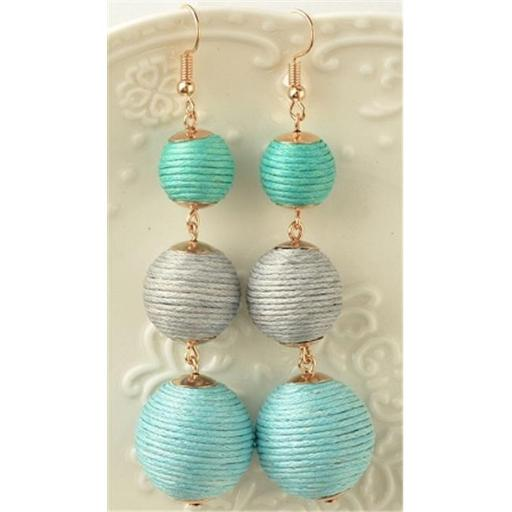 Youphoreah TBDE-307 -T Celeb Inspired Hombre Threaded Ball Drop Earrings - Turquoise