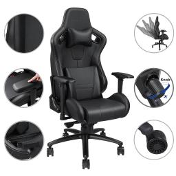 Anda Seat Racing Chair Gaming PVC Vinyl Leather Tilt Adjustable Swivel 400lb High-back w/ Headrest & Lumbar Cushion