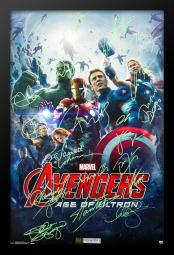 The Avengers - Age of Ultron - Signed Movie Poster in Wood Frame with COA