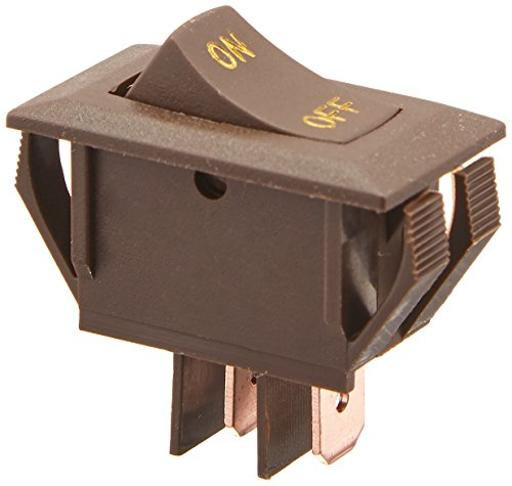 Brown Rocker Switch W/Gold Text 10 A On/Off - Spst - Cut-Out .550In X 1.125In