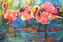 Flirty Flamingos Poster Print by Kay Smith (30 x 20) PAIKS001