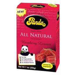 Panda 30705 12 x 7 Oz. Natural Licorice Panda Raspberry Chews Box