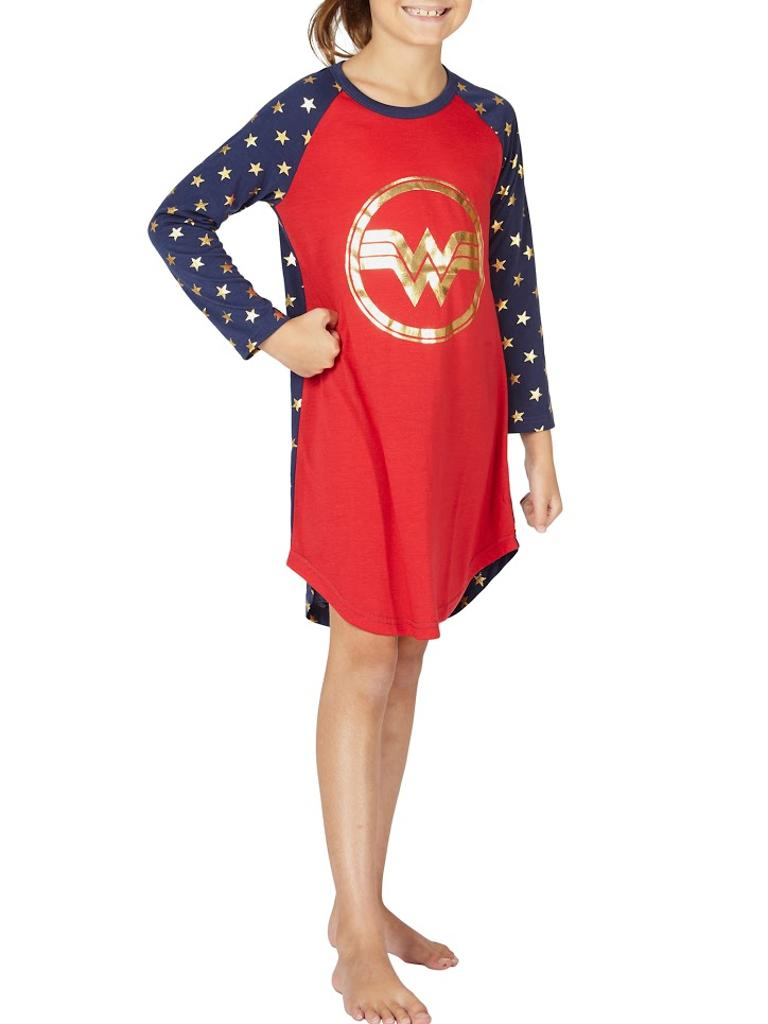 72854ee9ed Intimo Wonder Woman Costume Girls  Gold Logo Raglan Nightgown Pajama Sleep  Shirt